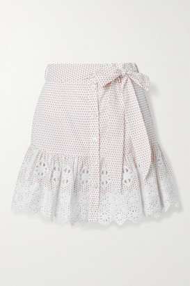 Miguelina Emy Embroidered Polka-dot Cotton-poplin Mini Skirt - White