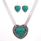 YAZILIND Vintage Heart Love Turquoise Tibetan Silver Jewelry Necklace Earring Set