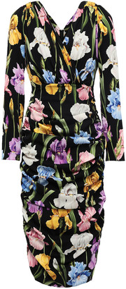 Dolce & Gabbana Ruched Floral-print Silk-blend Dress