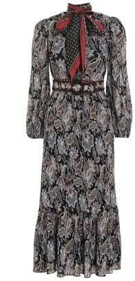 Zimmermann Ladybeetle Pleated Midi Dress in Black Jacobean