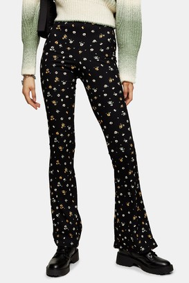 Topshop Womens Tall Floral Print Flared Trousers - Multi