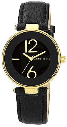 AK Anne Klein Anne Klein Black Leather Strap Watch