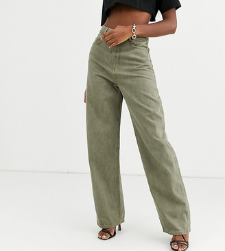 Asos Tall DESIGN Tall High rise 'relaxed' dad jeans in khaki-Green
