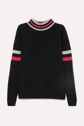 The Elder Statesman Odyssey Striped Ribbed Cashmere Turtleneck Sweater - Black