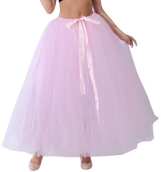 LINNUO Women Bubble Skirt Swing Skirts Floor Length Tulle Bridal Skirt with Bowknot Pink