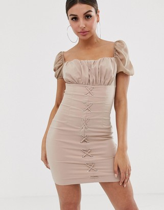 Naanaa NaaNaa ruched mini dress with lace up front-Beige