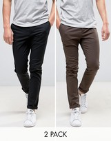 Asos 2 Pack Skinny Chinos In Black & Brown Save