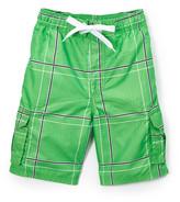 Kanu Surf Boys' Board Shorts Green - Green Flex Plaid Swim Trunks - Infant