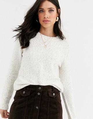Vero Moda speckled fluffy jumper-Beige