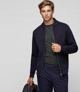 Reiss Reiss Harold - Knitted Bomber Jacket In Blue, Mens