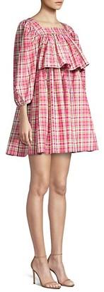Michael Kors Square Neck Puff-Sleeve Madras Dress