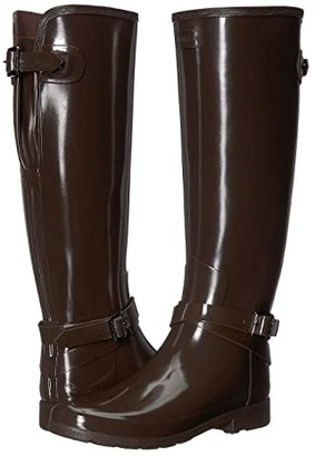 Hunter Refined Adjustable Ankle Strap Gloss (Bitter Choc) Women's Rain Boots