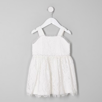 River Island Mini girls White lace flower girl dress