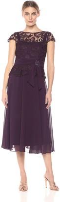 Emma Street Women's Lace Top with Pleated Sash and Tea Length Chiffon Skirt