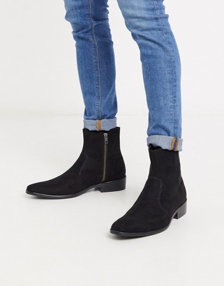 Topman faux suede boot with cuban heel in black