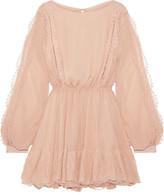 LoveShackFancy - Noelle Lace-trimmed Silk-georgette Mini Dress - Peach