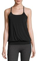 Beyond Yoga Sleek Stripe Overlap Racerback Twofer Tank, Black