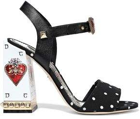 Dolce & Gabbana Sacred Heart Embellished Leather And Polka-dot Cady Sandals