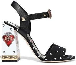 Dolce & Gabbana Sacred Heart Embellished Leather And Polka-dot Cady Sandals