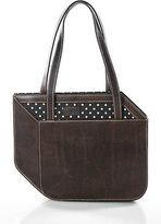 Moschino Brown Distressed Leather Polka Dot Trim Small Tote Handbag