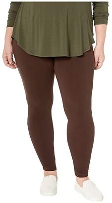 Hue Plus Size Wide Waistband Blackout Cotton Leggings (White) Women's Casual Pants