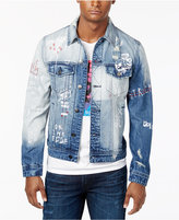 GUESS Men's Embroidered Ripped and Faded Denim Jacket