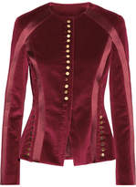 Altuzarra Cavendish Silk Satin-trimmed Velvet Jacket - Burgundy