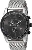 Akribos XXIV Men's AK813SSB Analog Display Swiss Quartz Silver Watch