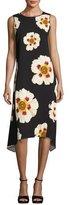 Lafayette 148 New York Romona Sleeveless Artful Floral-Print Dress, Multi