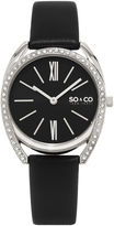 SO & CO NY Womens Madison Leather Dress Quartz Watch J158P94