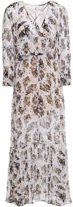 IRO Willow Wrap-effect Printed Chiffon Midi Dress