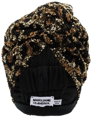 MaryJane Claverol La Tigresa beaded sequin turban