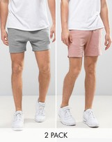 Asos Jersey Shorts 2 Pack Grey Marl/ Pink Save