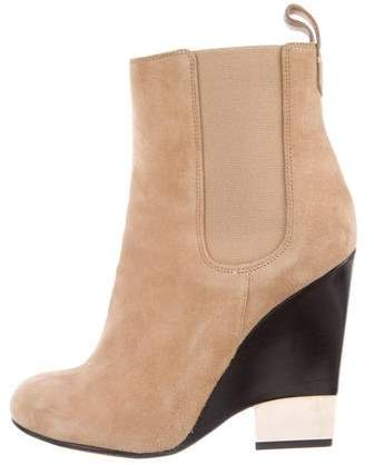 Givenchy Suede Round-Toe Wedge Ankle Boots