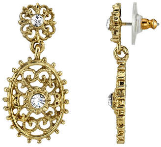 Downton Abbey Gold-Tone Crystal Filigree Oval with Aesthetic Beaded Edge Dangle Earrings