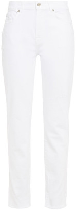 7 For All Mankind Relaxed Frayed Mid-rise Slim-leg Jeans