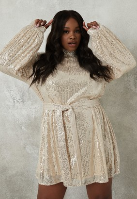 Missguided Plus Size Champagne Sequin High Neck Dress