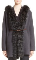 Fabiana Filippi Women's Belted Cashmere Hoodie With Genuine Fox Fur Trim