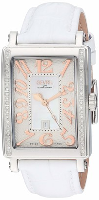 Gevril Avenue of Americas Stainless Steel Swiss Quartz Watch with Leather Calfskin Strap