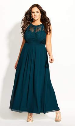 City Chic Panelled Bodice Maxi Dress - emerald