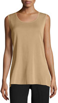 Ming Wang Scoop-Neck Knit Long Tank, Sand