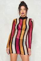 Nasty Gal nastygal Stripe On Cue Metallic Dress