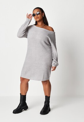 Missguided Plus Size Grey Waffle Off The Shoulder Jumper Dress