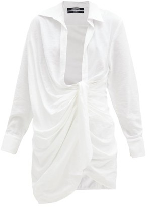 Jacquemus Bahia Knotted Twill Shirt Dress - Ivory