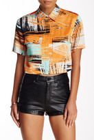 L.A.M.B. Brushstroke Short Sleeve Crop Top