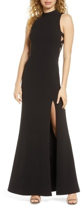 Lulus Keep on Dancing Cutout Mock Neck Gown
