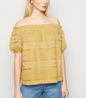 New Look Lace Puff Sleeve Bardot Top