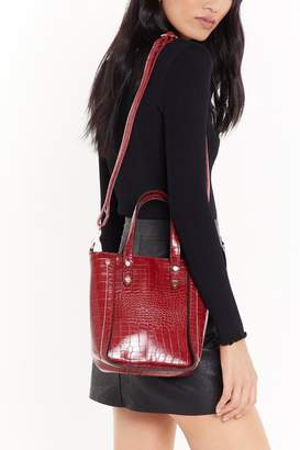 Nasty Gal Womens WANT Structured in Place Croc Faux Leather Bag - One Size