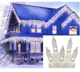 Gerson Set of 300 Heavy Duty Clear Icicle Christmas Lights - White Wire