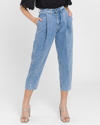 Express English Factory High Waisted Pleated Mom Jeans